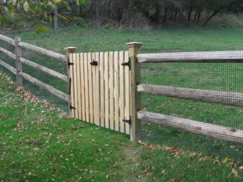 3 Rail Cedar Round Post and Rail with Welded Wire, And 1 x 4 Dogear Spaced Picket Double Gate